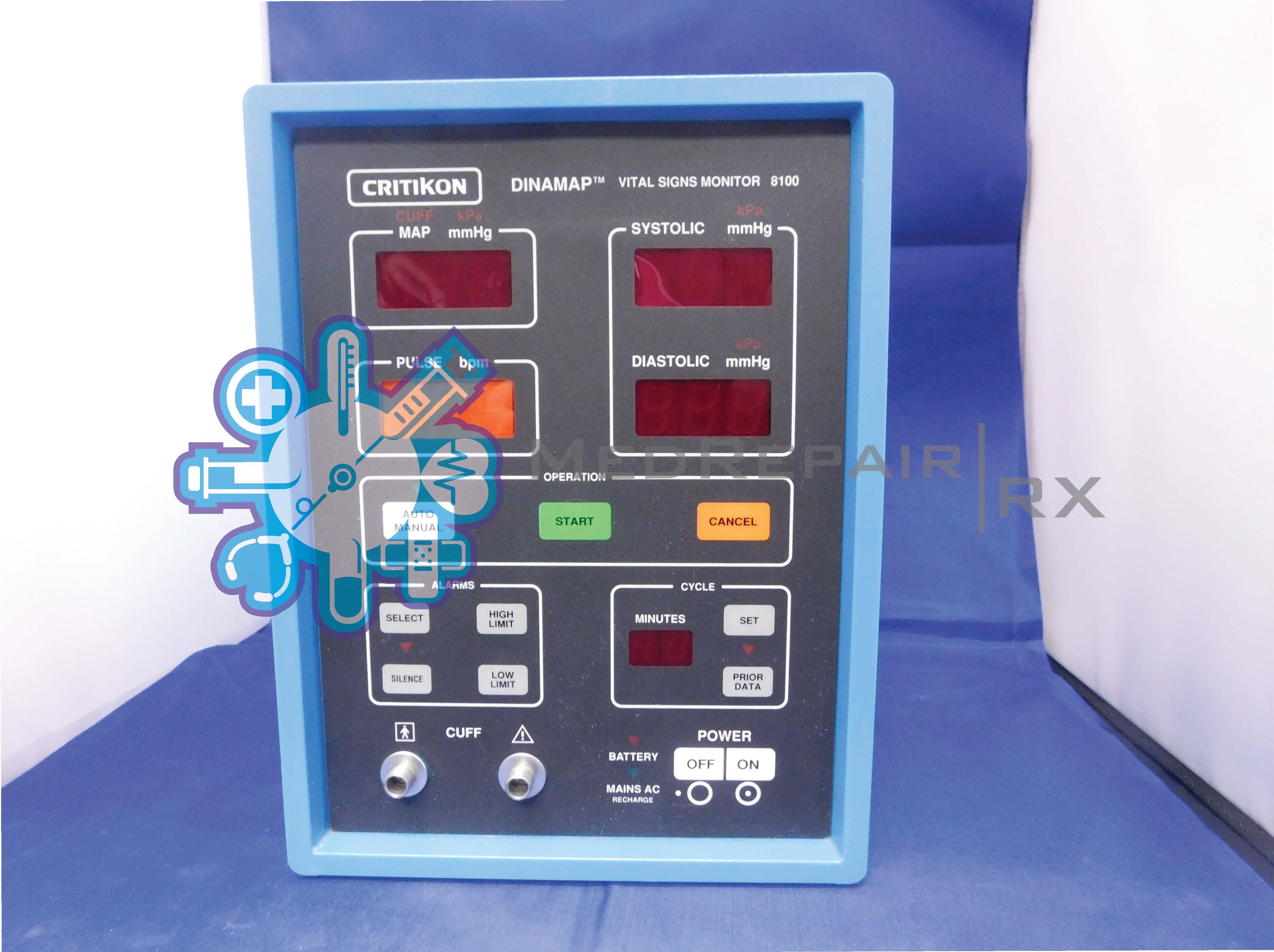 Critikon Dinamap Vital Signs Monitor 8100 : MedRepair Rx, LLC on